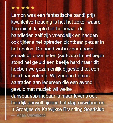 Review show Lemon Amsterdam in de Katwijkse Branding Surfclub