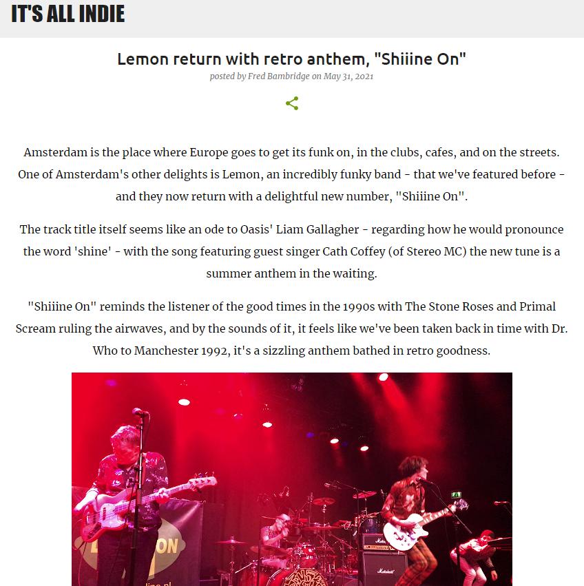 Review Shiiine On Lemon Amsterdam single